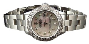 Rolex Ladies Stainless Steel Rolex Datejust Oyster Watch Ct Diamond White Mop Dial