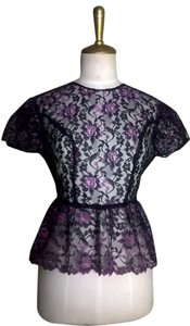 Lisa Nieves Girly Short Sleeve Peplum Lace Top Black/Purple