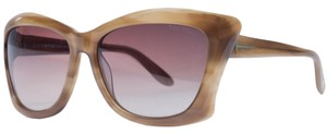 Tom Ford FT 280/S 47F Lana Light Brown Horn Full Rim Square Sunglasses Men