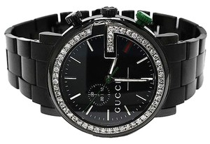 Gucci Custom Mens 101 G Black Pvd Real Mm Diamond Gucci YA101331 Watch 3.5 Ct