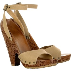Stella McCartney Carved Heel Studded Canvas Engraved Hand Carved Wood Tan Platforms
