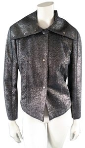 Escada Metallic Turtleneck Silver Jacket