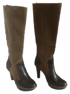 BCBGMAXAZRIA Camel Suede & Brown Leather Boots