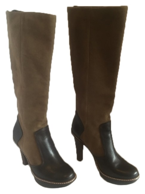 Item - Camel Suede & Brown Leather Two Toned Boots/Booties Size US 6.5 Regular (M, B)