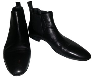 Hugo Boss Dressy Leather Leather Ankle Black Boots