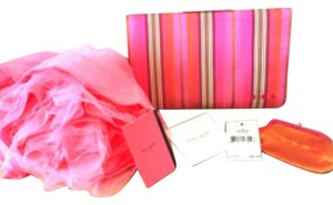 Kate Spade Silk Prada Ysl Pinstriped Pink Clutch