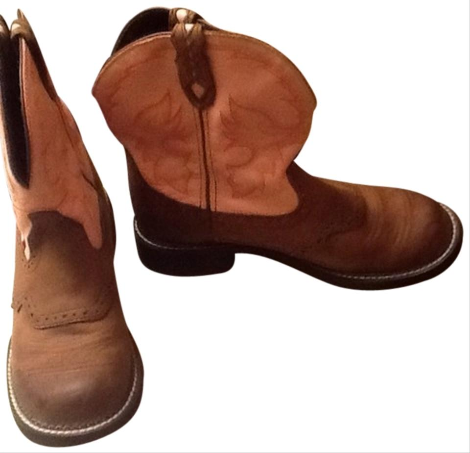 justin boots pink brown boots size 10 55 tradesy