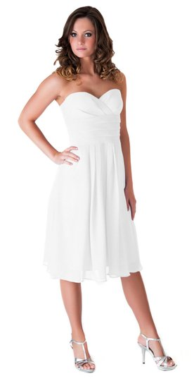 Ivory Strapless Pleated Waist Slimming Chiffon Feminine Dress Size 2 (XS)