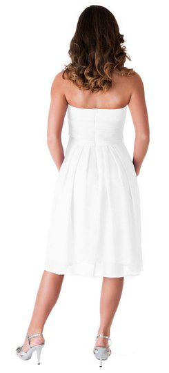 Ivory Strapless Pleated Waist Slimming Chiffon Feminine Wedding Dress Size 2 (XS)