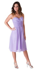 Purple Strapless Pleated Waist Slimming Chiffon Dress