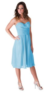 Blue Chiffon Strapless Pleated Waist Slimming Destination Wedding Dress Size 2 (XS)