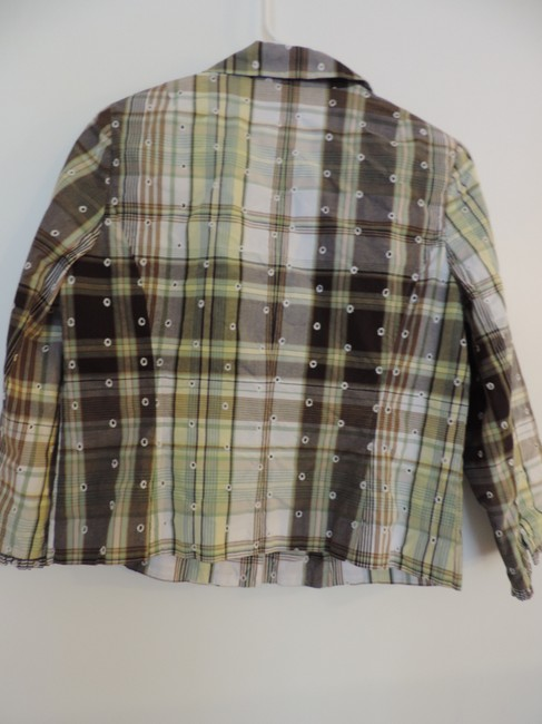Emma James Button Down Shirt Green with Brown Accents