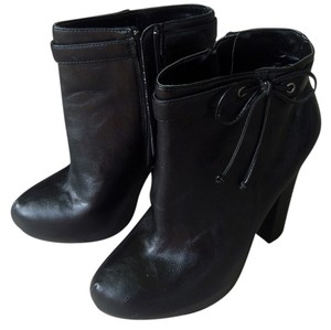 JustFab Bow Faux Leather Black Boots