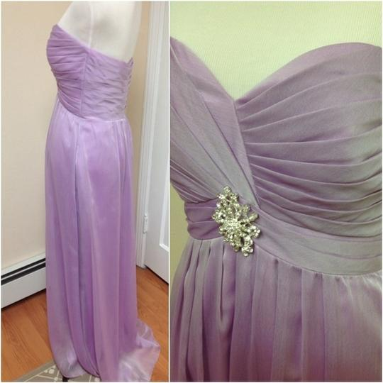 Belsoie Orchid / Sweet Lilac Chiffon / Polyester Heart Strapless Gown Modern Bridesmaid/Mob Dress Size 8 (M)