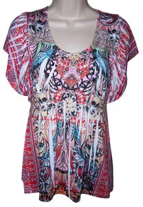 Live A Little Let Crinkle Petite Small Rhinestones Short Top Multi Color