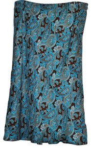 INC International Concepts Skirt Turquoise and Brown Paisley