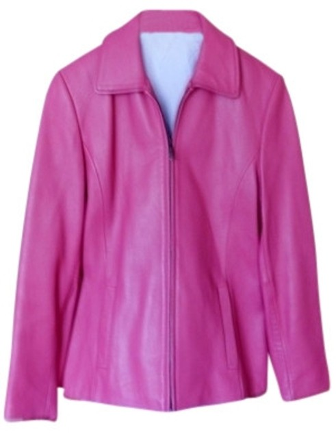 Preload https://img-static.tradesy.com/item/7854/liz-claiborne-pink-fitted-with-color-and-zipper-leather-jacket-size-4-s-0-0-650-650.jpg