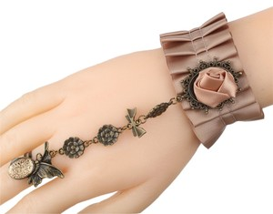 Charlotte Russe Satin & Lace Victorian / Gothic Slave Bracelet & Ring Combo