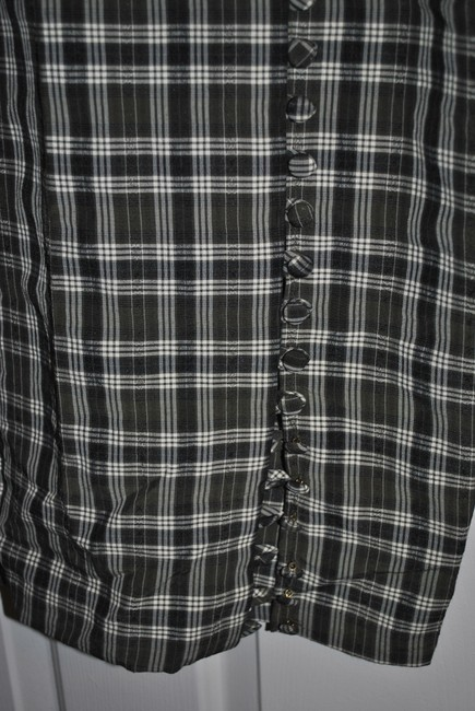 Olive green with a white thread creating a plaid pattern. Maxi Dress by Judy Knapp California 62% Rayon 38% Polyester Dryclean Only Covered Buttons