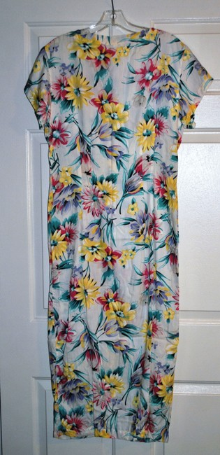 Spring Floral Multi on off white background. Pink, Lilac, Green Floral Maxi Dress by Esprit