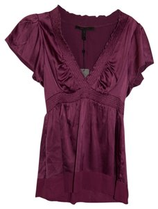BCBGMAXAZRIA Silk Top Plum
