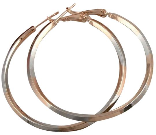 Other Rose White Gold Filled 2-Tone Hoop Earrings