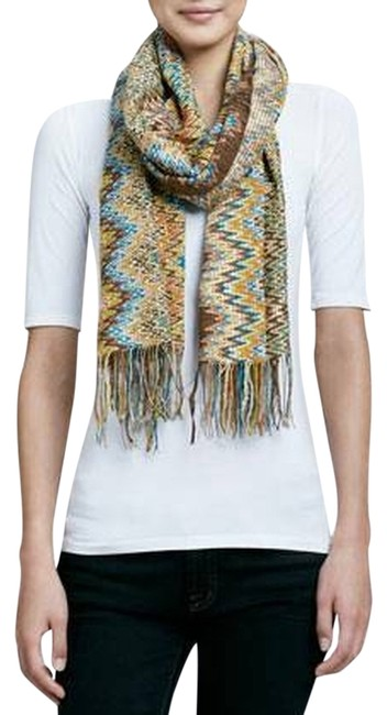 Item - Orange Brown Gold and Blue Signature Zigzag Knit Golden Filaments - Perfect For Spring Sun Rainy Days Scarf/Wrap