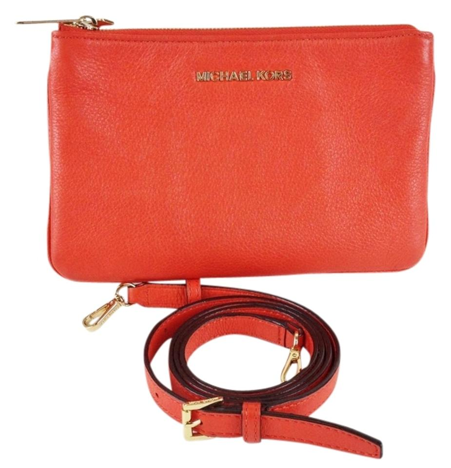 d1a44af673ad Michael Kors Accordion Clutch Neon Orange Leather Cross Body Bag ...
