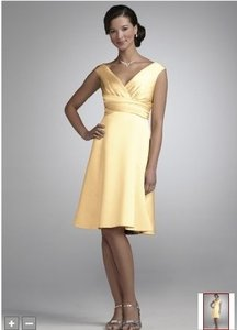 David's Bridal Yellow Short Satin Off-the-shoulder A-line With Ruching Dress
