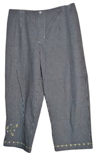 AMI 3%spandex Capris Black & White check with Embroidery on pant leg