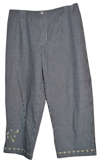 AMI 97%cotton 3%spandex Size Large Front Zip Closure Capris Black & White check with Embroidery on pant leg