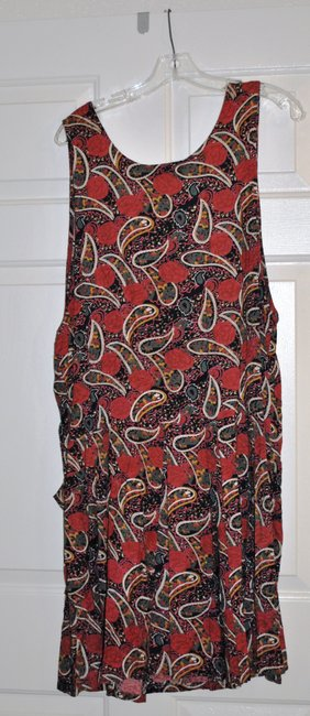 Allison Blair short dress Red Black Green Floral and Paisley Jumper Made In India 100% Rayon Never Worn Without Tags Eight Working Buttons On Front on Tradesy