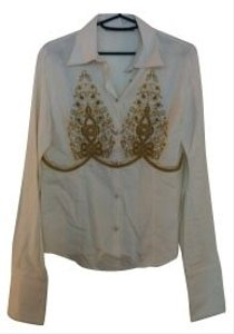 Roberto Cavalli Button Down Shirt White and gold