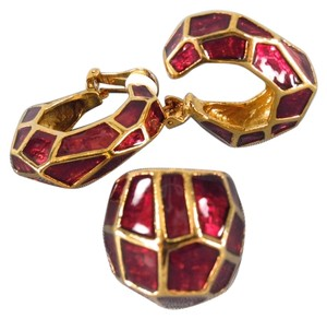 Oscar de la Renta OSCAR DE LA RENTA Ruby Enamel Clip On Hoop Earrings Ring Set