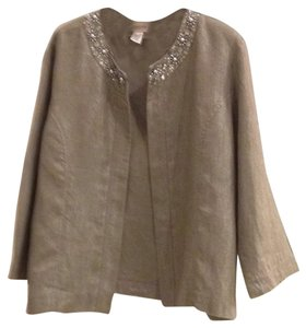 Chico's linen jacket Shimmery Beaded Vintage Inspired Top Silver metallic.
