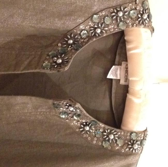 Chico's linen jacket Shimmery Beaded Vintage Inspired Top Silver metallic. Image 1