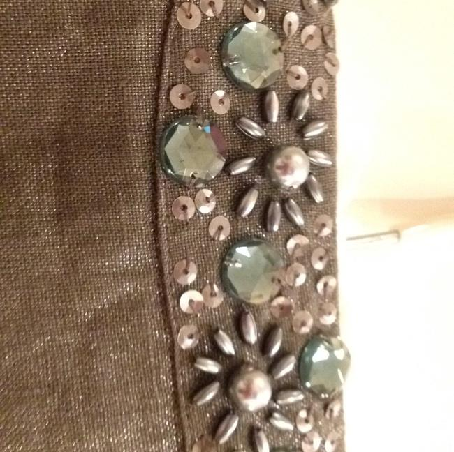 Chico's linen jacket Shimmery Beaded Vintage Inspired Top Silver metallic. Image 3