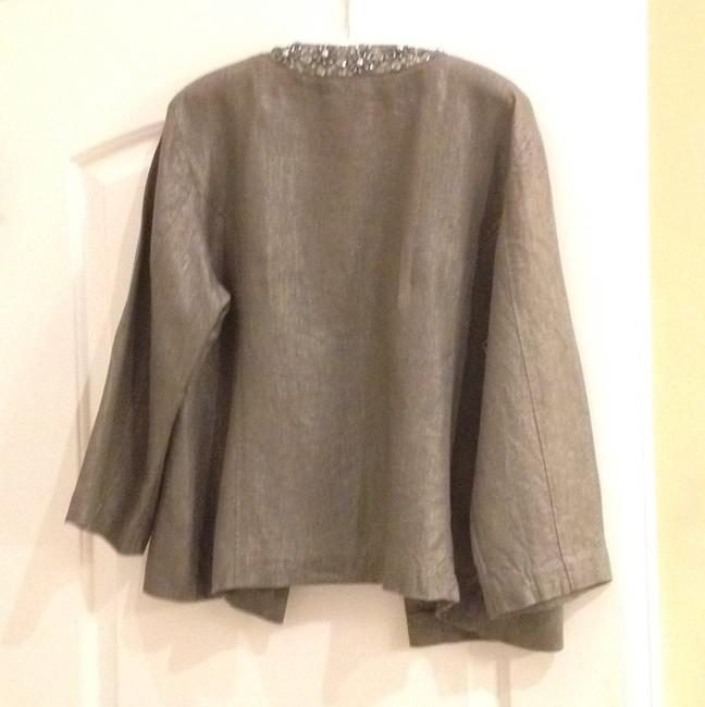 Chico's linen jacket Shimmery Beaded Vintage Inspired Top Silver metallic. Image 4