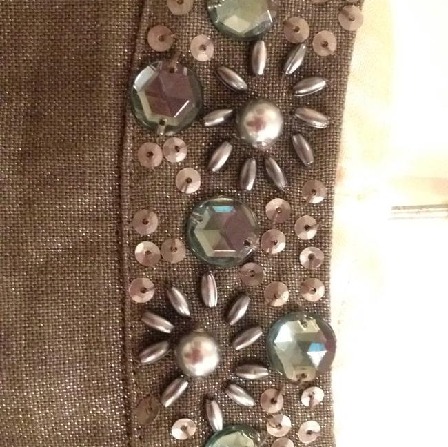 Chico's linen jacket Shimmery Beaded Vintage Inspired Top Silver metallic. Image 5