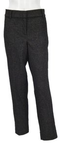 Ann Taylor Straight Pants Flecked Kahlua with Thin Black Diagonal Lines