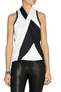 Helmut Lang Pearl Black Twisted Drape Leather Trim Crepe Top Black blue