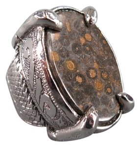 Roberto Cavalli ROBERTO CAVALLI Brown Stone Silver Engraved Cocktail Ring