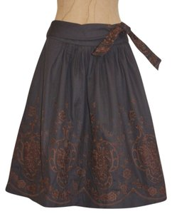 Anthropologie Embroidered Floral Bohemian Winter A-line Skirt GRAY