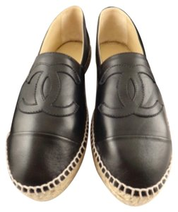 Chanel Black Leather Flats