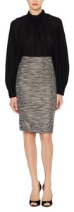 Monique Lhuillier Tweed Work Wear Pencil Skirt Black/Grey