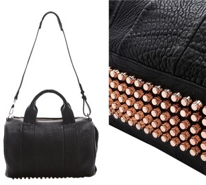 Alexander Wang Studded Leather Rocco Duffel Satchel in Black/ Rose Gold