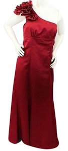 Alfred Angelo One Shoulder Red Satin Evening Bridesmaid Prom Gown Dress