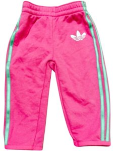 adidas Pink with green stripes Leggings