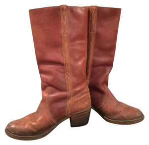 Vintage Leather Chunky Tan Boots