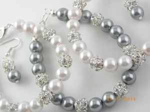 Other Sale Set Of 6 Bracelet And Earrings Bridesmaid Grey Pearl Bridesmaid Bracelet Pink Pearl Bracelet Weding Jewelry
